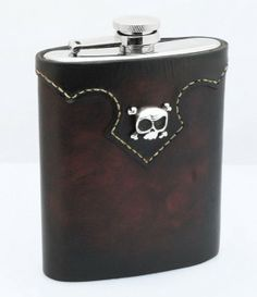 #Leather Flask with sterling silver #Skull