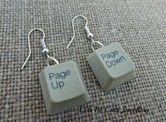 Upcycled & recycled computer Keyboard key earrings  by LetsBeCats