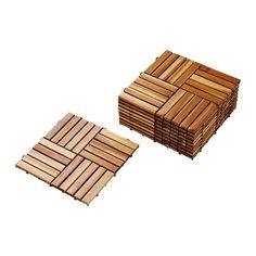 SKOGHALL Płyty podłogowe IKEA Elementy mogą być ze sobą połączone by pozostały na swoim miejscu.
