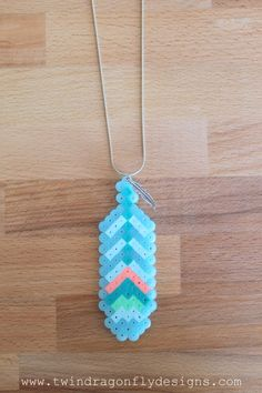 Perler Bead Feather Necklace-008