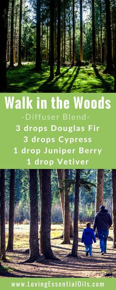 FREE GUIDE: 150 Essential Oil Diffuser Recipes You Will Love - Walk in the Woods diffuser blend with douglas fir, cypress, juniper berry and vetiver essential oils, happy diffusing! #diffuserguide #diffusingoils #diffuserblends
