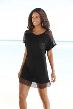 e402a82b82a5f Black Mesh Insert Long Top from LASCANA women s clothing. Perfect for your  spring break holidays. Feel sexy and confident in our beautiful beachwear.