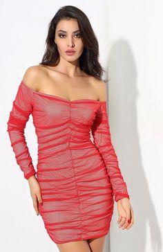 771a46391c1e  Yonce  Sexy Red V-Neck Pleated Mesh Mini Dress. Mesh Long SleeveWomen ...