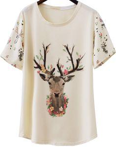 Shop Apricot Short Sleeve Deer Print Loose T-Shirt online. Sheinside offers Apricot Short Sleeve Deer Print Loose T-Shirt & more to fit your fashionable needs. Free Shipping Worldwide!