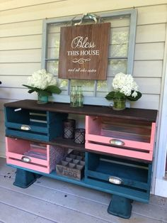Teal and Coral Wooden Crate Storage Cubbies – Shabby Chic - Wooden Crates Bookshelf Apple Crate Shelves, Wood Crate Shelves, Diy Wooden Crate, Wood Crates, Milk Crates, Cubby Storage, Crate Storage, Diy Storage, Record Storage