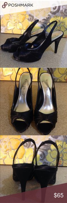 """WHBM - Black Satin Peep-Toe Slingback Heels White House Black Market Heels  Size: 9M Descriptions: """"Thriller."""" Black satin heels w/ shiny patent leather piping. Stiletto heel. Peeptoe. 4.5"""" heel. .5"""" platform. Leather upper. Condition: Excellent Used Condition. Light wear & sticker remnants on soles.  Inventory Reference: #S144 White House Black Market Shoes Heels"""