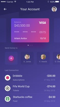 Dribbble - by Anton Avilov Android App Design, Ios App Design, Web Design, Mobile Ui Design, Interface Design, User Interface, Credit Card App, App Design Inspiration, Application Design