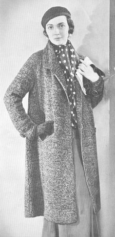 Vintage 1930s Swagger Coat Knitting Pattern PDF 3212