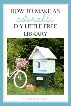 How to Make an Adorable DIY Little Free Library - With a bit of creativity and some leftover building materials, I was able to make an old entertainment stand and make it into a sweet DIY little free library for the public to swap books.