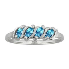 10k White Gold Marquise-set Birthstone Ring (Size 7.5 Jul Ruby), Women's, Red