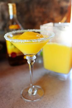 Mango Marquita (Make a non-alcoholic version by subbing ginger ale for the booze!)