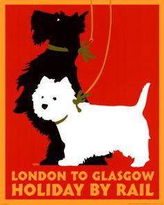 vintage travel poster terriers London rail