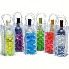 Heading to a BYOB party? Or maybe the beach? Keep the chilled wine bottle in this frozen bag and carry it in style..