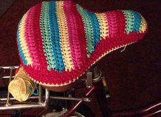 My attempt at a crochet seat cover for a retro bike - work in progress! Cathy