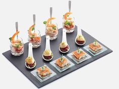 Treat your guests to a selection of appetisers with the stylish Petit Bites Seventeen Piece Appetiser Gift Set. Guaranteed to add the Tapas, Food Stations, Food Platters, Mini Foods, Cold Meals, Appetizers For Party, Dinner Parties, Food Plating, Plating Ideas