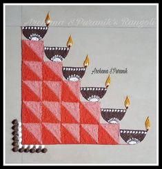 Freehand Rangoli 👇 Diya Rangoli Made By Me 👇🙂 🌿Archana Puranik's Rangolis 🌿 Rangoli Patterns, Rangoli Kolam Designs, Rangoli Ideas, Rangoli Designs With Dots, Rangoli Designs Images, Beautiful Rangoli Designs, Diya Rangoli, Indian Rangoli, Free Hand Rangoli