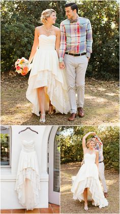 High-low hem wedding dress by Peppermint Pretty. Light champagne taffeta with lace and tulle layered high-low skirt. Perfect for an outdoor wedding.