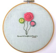 Embroidery hoop art.  I could do this!