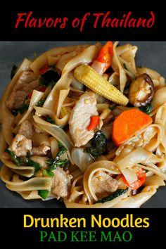 Thai Drunken Noodles or Pad Kee Mao is a spicy dish that is said to get it's name because it is reportedly is a perfect food to cure a hangover. Others say the name was given because the dish goes well with Thai beer. But for whatever the reason, if you love spicy oriental noodle dishes - you have to try this one! Click to see the whole easy recipe @venturists