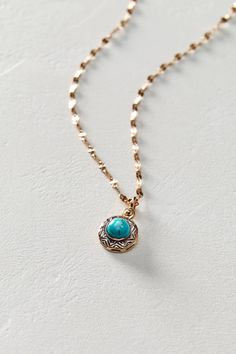 Turquoise Pendant Necklace in 14k Rose Gold by Arik Kastan #anthrofave
