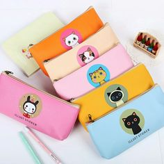 Lovely Large Capacity Pencil Case Creative Cats Waterproof Pencil Bags School Office Supply For Kids Gift Animal Pencil Case, Cute Pencil Case, Pencil Bags, Pencil Pouch, Chat Kawaii, Orange And White Cat, Cute Pens, Korean Stationery, Pen Collection