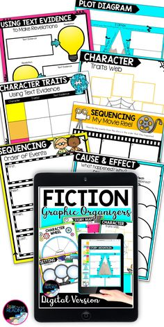 Tons of reading graphic organizers for any novel. Great for distance learning and reading response for independent reading or online reading. Fiction digital reading resource for Google Classroom like story mountain graphic organizers, sequencing graphic organizer, analyzing character traits, cause and effect Reading Resources, Reading Strategies, Teaching Reading, Learning, Graphic Organizer For Reading, Graphic Organizers, Story Mountain, Reading Posters, Writing Anchor Charts