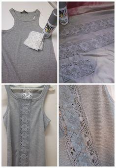Una camiseta demasiado ajustada es ampliada con una banda de encaje pintada con spray plata