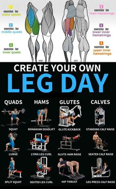 """Leg day""—the very phrase conjures up images of nausea, days of hobbling, and legs that feel like jello. The feelings may be universal, but bodybuilders looking to annihilate legs have countless workout options at their disposal. While most workouts start Leg Day Workouts, Gym Workout Tips, Weight Training Workouts, Fun Workouts, At Home Workouts, Leg Press Workout, Workout Plans, Workout Fitness, Leg Workout Routines"