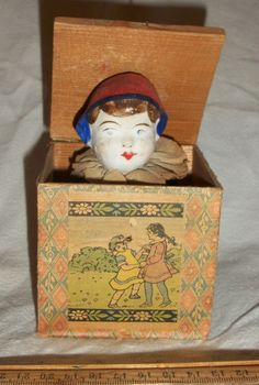 Antique Wood Papier Mache Boy Character Jack in the Box All Original Good Marked