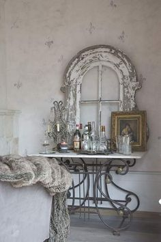 *marble & iron bar table*distressed frame