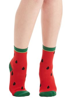 Juicy What I See? Socks. Well, look at that - a pair of socks as playful as you are! #red #modcloth