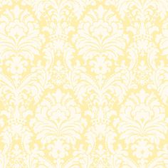 Add a cheerful feel to rooms with this ornate damask wallpaper. Its bright yellow and white hues will add a sunny touch to decor. Simple Damask Yellow Wallpaper is an easy walls, prepasted wallpaper. Prepasted Wallpaper, Damask Wallpaper, Bathroom Wallpaper, Home Wallpaper, Wallpaper Roll, Wallpaper Backgrounds, Wallpapers, Peach Wallpaper, Wallpaper Designs
