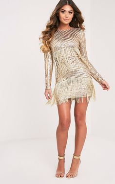 6a0efef6929f Gold Premium Sequin Fringed Bodycon DressBe bold this upcoming party season  in this bodycon dress.