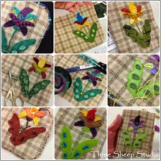 Jacobean Wool Applique Needlekeepers - Pattern from Rose Clay at Three Sheep Studio