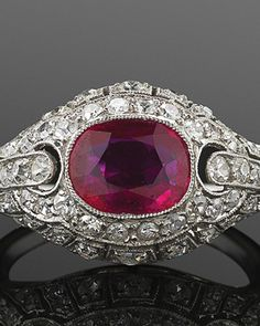 Rings | Fred Leighton | Vintage & Estate Jewelry | New York | Las Vegas Art Deco Burma Ruby and Diamond Ring, circa 1920s