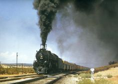 ATSF 2900 class no. 2925 assisting a quartet of F3's in helper service in abo canyon in 1956. Photo by Jim Ehernberger