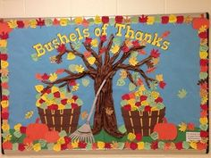 Thanksgiving Bulletin Boards for Kindergarten | Thanksgiving bulletin board with fall leaves and apple baskets