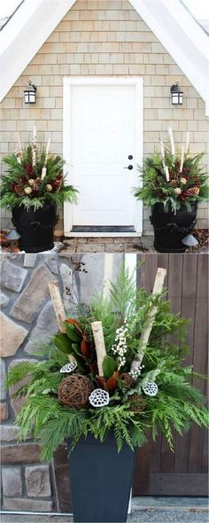 How to create colorful winter outdoor planters and beautiful Christmas planters . How to create colorful winter outdoor planters and beautiful Christmas planters with plant cuttings and decorative elements that last for a long time! Outdoor Christmas Planters, Christmas Porch, Rustic Christmas, Winter Christmas, Christmas Wreaths, Outdoor Planters, Thanksgiving Holiday, Winter Porch, Garden Planters