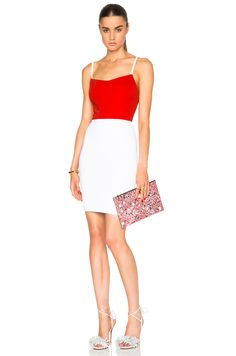 Image 1 of Victoria Beckham Dense Rib Cami Dress in Candy Red & White