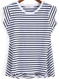 Black White Round Neck Striped T-Shirt