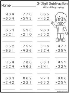 3 Digit Subtraction Without Regrouping Worksheets by Learning Desk First Grade Math Worksheets, 4th Grade Math Worksheets, Free Math Worksheets, 3rd Grade Math, Alphabet Worksheets, Grade 3, Number Worksheets, Math Math, Third Grade