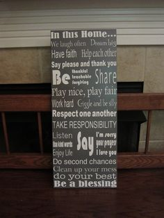 House Rules wood sign.  This is my own design.