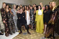 Samira Wiley, Coco Rocha, Chrisitan Siriano, Alexa Chung, Morena Baccarin, Juliette Lewis, Cara Santana, Leigh Lezark and Danielle Brooks attend the Christian Siriano show during New York Fashion Week.