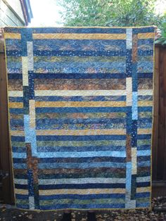 Stacked Coins, 1930's reproduction fabric, quilted long arm Jelly Roll pattern, Indonesian Batik fabric, quilted free ...