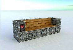 """Redhen   gabions   gabion fence - """"Sofa"""" bench RHM06"""
