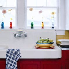 Love this old sink with red cabinetry. This is the look I want for my art sink in new studio.
