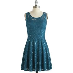 Just Dazzle Me Dress (670 MXN) ❤ liked on Polyvore featuring dresses, lace, blue, sequins, party, mid-length, a-line, knit, holiday party and solid