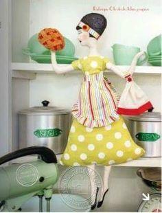 Boneca enfeite de cozinha com molde