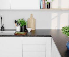 Bytt stil på kjøkkenet med ny benkeplate - Byggmakker Floating Shelves, Kitchens, Home Decor, Modern, Decoration Home, Room Decor, Wall Shelves, Kitchen, Cuisine