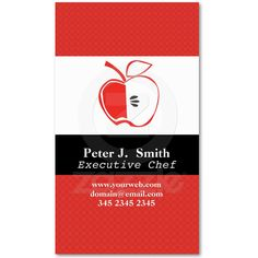 delicious apple design illustration on business card for chefs, organic growers and apple lovers. Executive Chef, Apple Recipes, Chefs, Business Cards, Create Your Own, Personalized Gifts, Mixed Media, Tomato Juice, Lovers